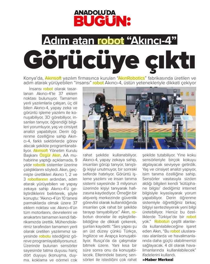 Adım Atan Robot Akıncı 4 Görücüye Çıktı Konulu Basında Yer Alan Haberler - 27
