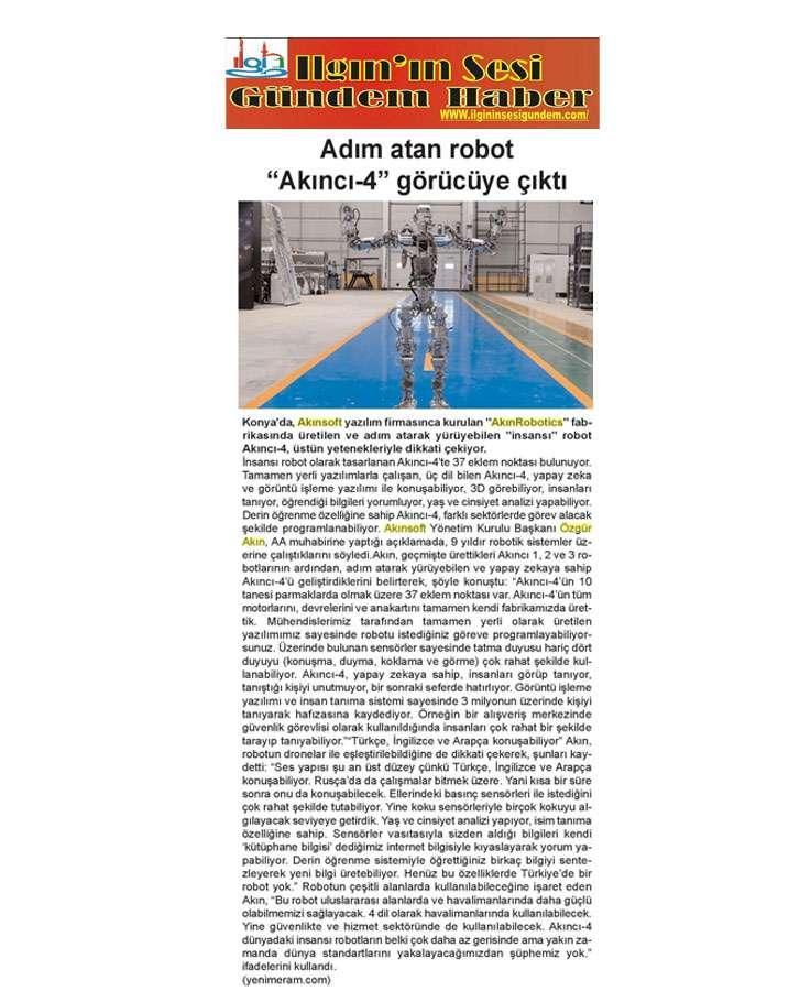 Adım Atan Robot Akıncı 4 Görücüye Çıktı Konulu Basında Yer Alan Haberler - 12
