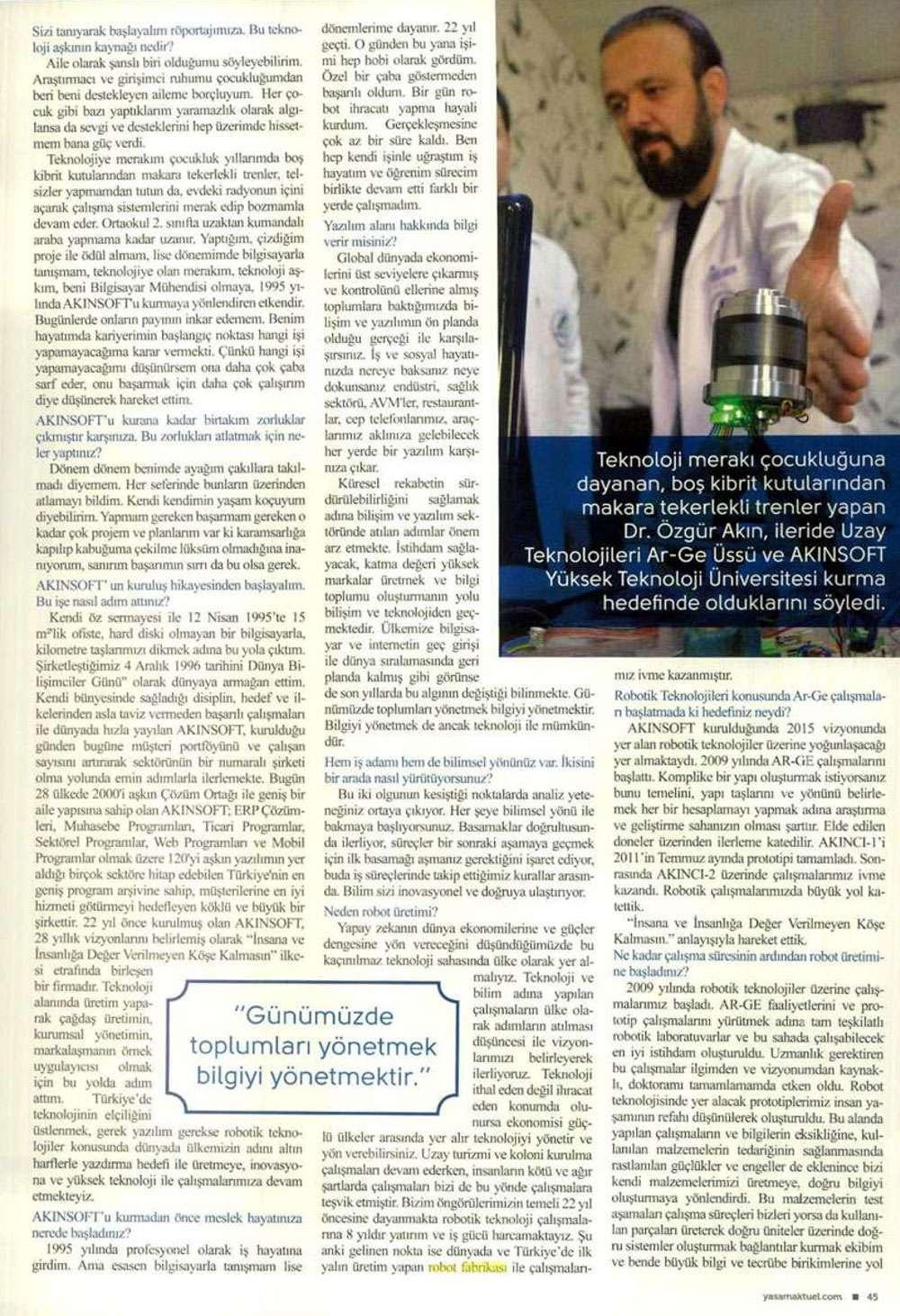 Dr Özgür AKINın Aktüel Dergisinde yayınlanan  Yapay Zeka Dünyaya Yön Verecek konulu röportaj çalışması - 3