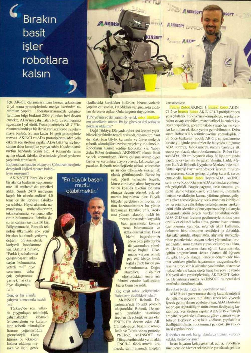Dr Özgür AKINın Aktüel Dergisinde yayınlanan  Yapay Zeka Dünyaya Yön Verecek konulu röportaj çalışması - 5
