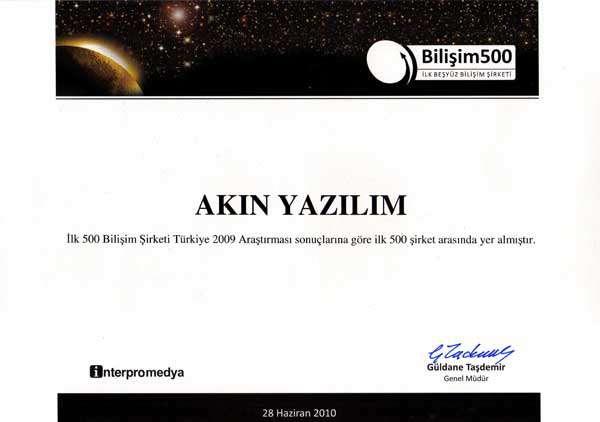 AKINSOFT, İlk 500 Bilişim Şirketi 2009 listesinde 349. sıraya yükseldi