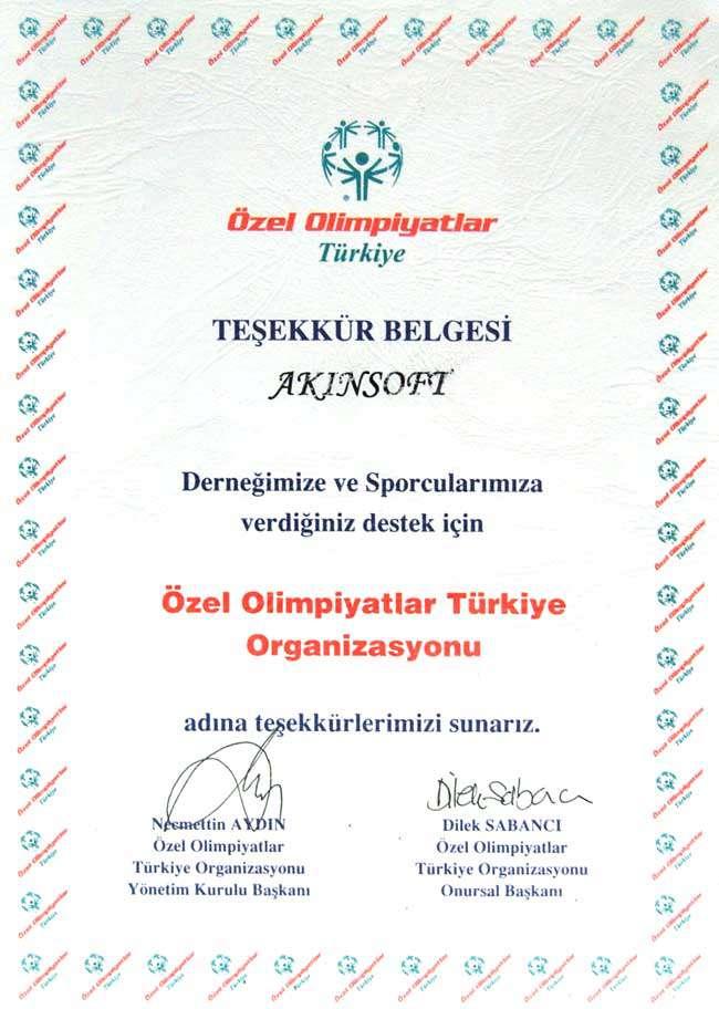 AKINSOFTa Özel Olimpiyatlar Türkiye Organizasyonundan Teşekkür Belgesi
