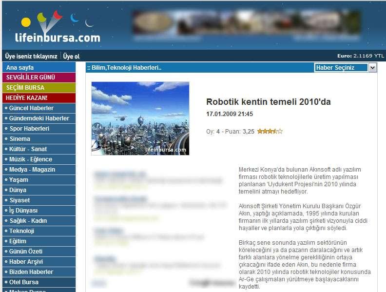 Lifeinbursa Web Sitesi Robot Kentin Temeli 2010da Konulu Haberi