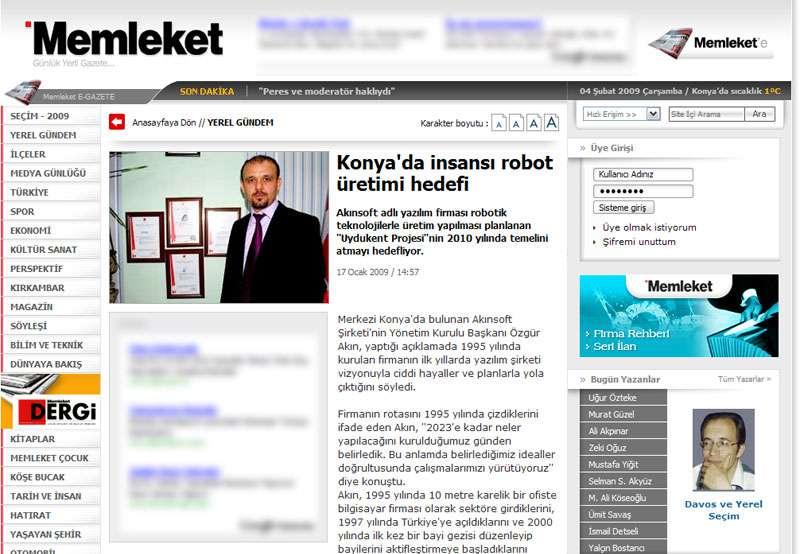 Memleket Gazetesi Konyada İnsansı Robot Üretimi Hedefi Konulu Web Haberi