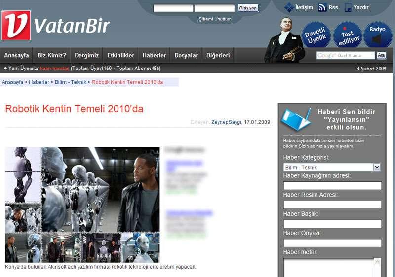 VatanBir Web Sitesi Robotik Kentin Temeli 2010da Konulu Haberi