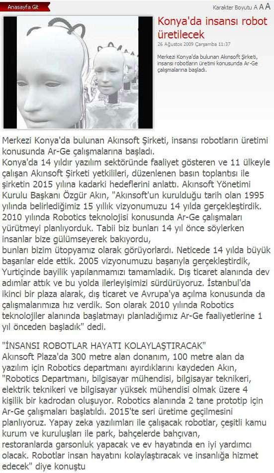haberkonyacom Web Sitesinin Konyada İnsansı Robot Üretilecek  Konulu  Haberi