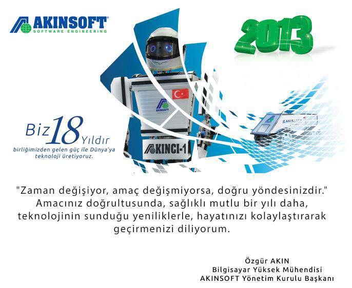 AKINSOFT Yönetim Kurulu Başkanı Özgür AKIN ın Yeni Yıl Kutlama Mesajı