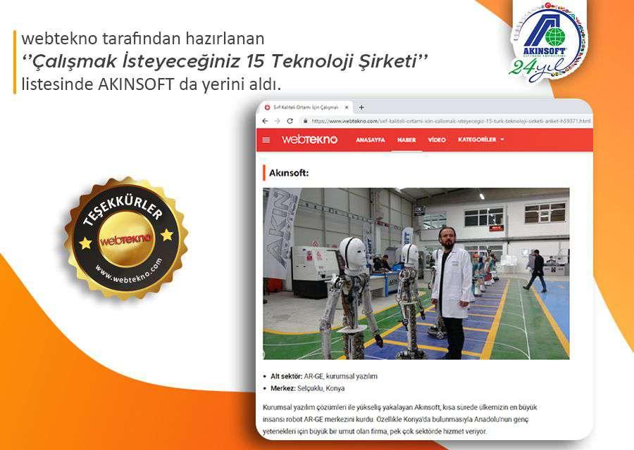 AKINSOFT Sırf Kaliteli Ortamı İçin Çalışmak İsteyeceğiniz 15 Türk Teknoloji Şirketi Listesinde!