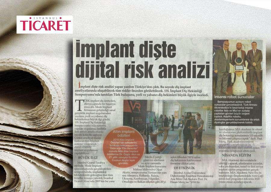 İstanbul Ticaret Gazetesinde Yer Alan Altın Implant Ödülleri Konulu Haber
